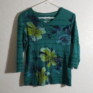 Green V neck floral long sleeve
